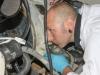 Gary inspected the engine flywheel...