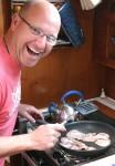 Dave of Yacht Akemi cooking my birthday breakfast
