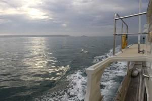 The sea was glassy calm