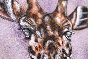 Part of a giraffe sand painting