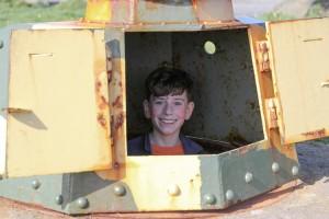 In the machine gun turret
