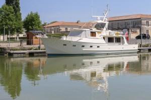 Moored in Rochefort on her own pontoon